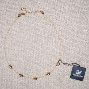 "Retired Signed Daniel Swarovski Wire Necklace Bezel Crystal Gold 16.5"" - 19"""